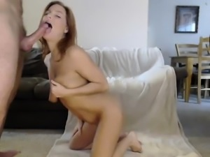 Cute redhead GF cell phone POV blowjob