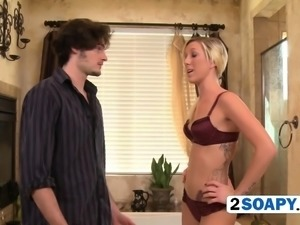 Beautiful and seductive blonde pleasing that dick