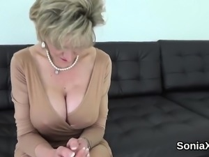 Unfaithful british mature lady sonia presents her huge boobi