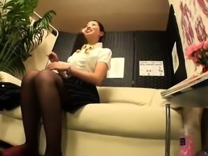 Japanese office babe gets way more than just a massage