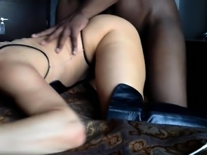 Big breasted blonde has a black bull hammering her peach