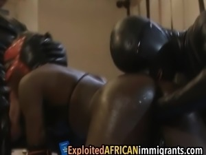 Kinky african babe gets her vagina fisted hard before
