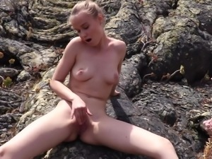 Sexy Ukrainian all alone hottie Angel B plays with her big tits outdoors