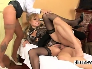 Stunned doll in lingerie is geeting pissed on and pounded96t