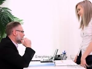 Nasty student pays a tricky teacher a sex visit
