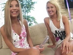 Blondies Amelie Pure and Julia drinking and sucking a fat boner