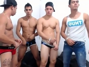 Four attractive boys hook up for an exciting gay adventure