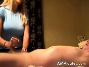 Hot wife makes a cock cum