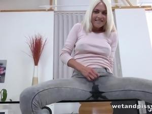 Prague blonde MILF Lena Love loves pissing and masturbating a lot