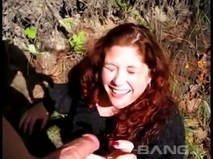 Giggling curly red haired BBW wanna be fucked doggy in the forest