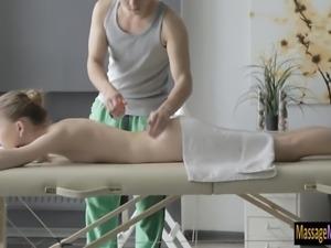Very slim babe Sofia Russo enjoyed massage and pounded