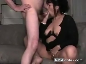 Horny chunky wife and her perverted husband films their fuck at home.