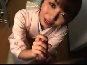 Enticing Japanese girl pleases a cock with her lips in POV