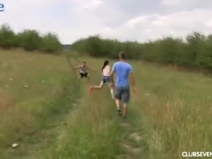 Paly Hungarian chick Mia Evans rides and blows dick in the field