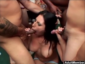 Dirty Brunette Makayla Cox loves being face fucked by four huge dicks