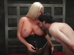 big breasted blond transsexual banging her dominated dude's ass