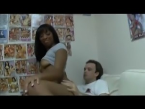 ebony babe gets cum on her clit