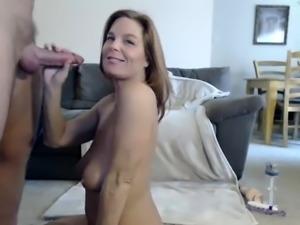 Pov whore gives handjob and blowjob after tit fuck