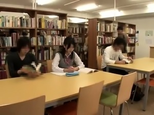 Two beautiful Japanese teens getting banged in the library