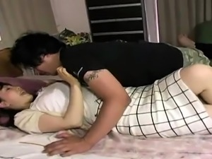 Big breasted Japanese wife has wild sex with her horny lover