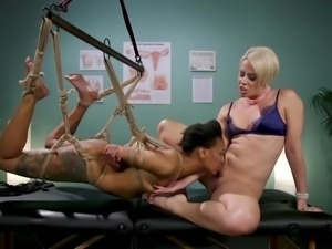 bound ebony babe gets punished by her lesbian lover