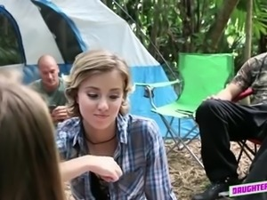 Lusty camping nympho Alyssa Cole gets hammered right in the tent