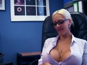 Extremely huge breasted office bimbo Lena Lay takes fat BBC in her slit
