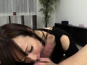 Oriental beauty gets her face hole filled with a massive rod