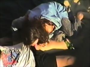Interracial outdoor blowjob from bikini slut