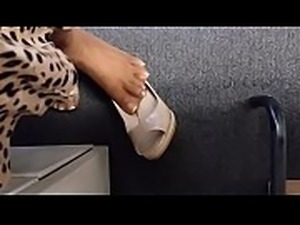 Candid Secretary Shoeplay by Copy Machine Part 1- www.prettyfeetvideo.com