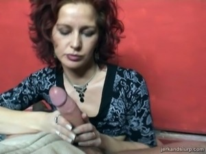 Salacious cougar with a shaved pussy enjoying a hardcore dildo fuck