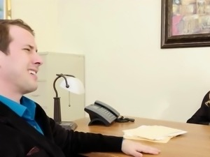 Busty Blonde Babe Screwed in Office