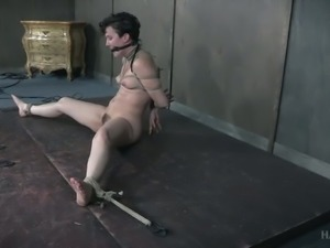 Perverted old dude punishes one tied up brunette whore