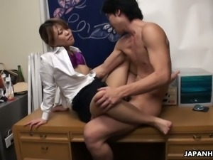 Dude desires to finger and fuck soaking hairy pussy of Yuria Takeda