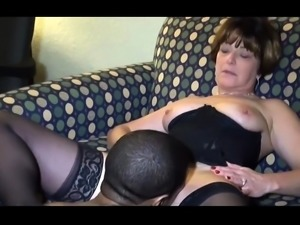 Curvy brunette wife in stockings gets nailed by a black guy