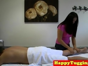 Real asian masseuse riding and sucking dick