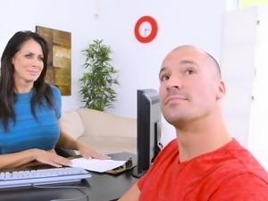 Huge cock dude bangs Milf in office