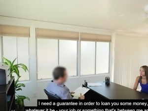 College teen fucks in an office to get a loan approved