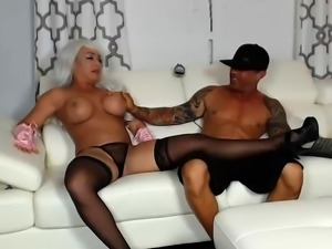 Big breasted blonde milf getting pleased by a young stud