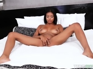 Pretty svelte 19 yo black cutie Nia Nacci is so into sucking white dick