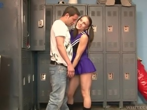 Cute sporty pigtailed cheerleader Kirra Lynne gives awesome footjob