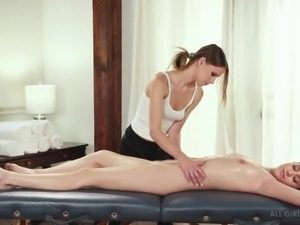 Attractive Jillian Janson does not care about massage and needs masturbation