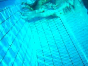 Exciting babe works her pussy on a hard dick in the pool