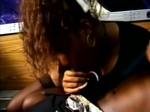 Vanessa Blue is ordinary black harlot giving a blowjob in the train