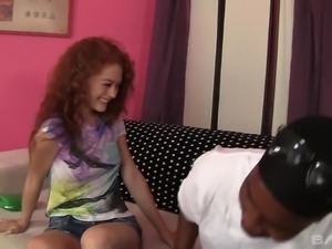 Curly redhead Alice Green takes black buddy's invitation for steamy fuck