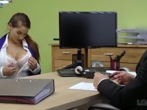 Big boobed bombshell rides loan debtor's cock right in his office