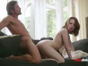Pretty quite buxom pale babe Alina West gets her juicy slit poked doggy
