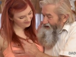 Natural beautiful redhead Vanessa masturbates her fresh pussy in front of old...