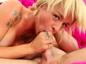 Sexy Tattooed blonde deep throats then swallows a bog load