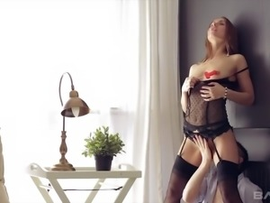 Svelte babe in sexy black negligee Nika wanna take dick into her butthole